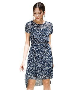 Đầm suông voan hoa DELIGHT DSH90 - Xanh đen