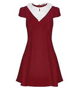 Đầm xòe cổ sen nút cao cấp - Đỏ