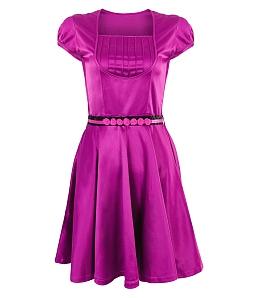 Đầm xòe thắt lưng hoa - Tím