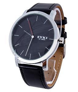 Đồng hồ nam Eyki E-times dây da - Đen