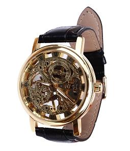 Đồng hồ nam máy cơ dây da - Đen