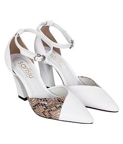 Giày cao gót 9 phân phối da 828 Sarisiu - Trắng