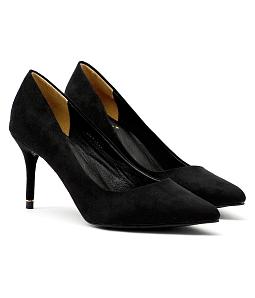 Giày cao gót mũi nhọn gót viền vàng G06-IV16 - Đen
