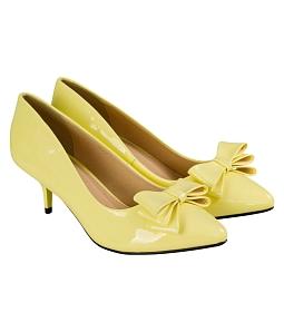 Giày cao gót nơ đính nữ thời trang  - Vàng