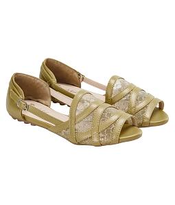 Giày đế bằng nữ phối lưới thời trang - Vàng