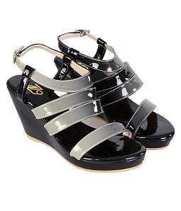 Giày sandal nữ đế xuồng 4 quai - Đen