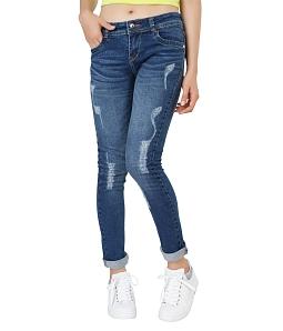 Quần Jean dài nữ ECO phối xước 042M2