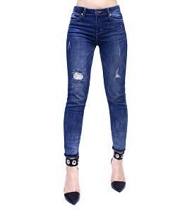 Quần jean nữ rách nhẹ cá tính - Xanh