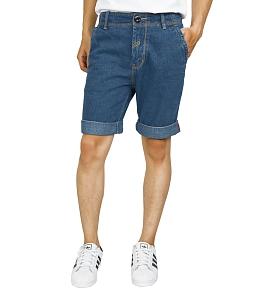 Quần jean short nam chỉ nổi - Xanh