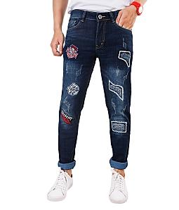 Quần jeans nam phối hình cá tính KUMAS 89073 E1