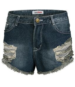 Quần short jean nữ chỉ nổi sành điệu - Xanh đen