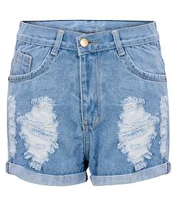 Quần short jean rách thời trang - Xanh