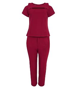 Sét quần + áo xếp ly thanh lịch - Đỏ