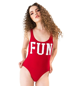 Swimsuit in chữ FUN CAN DE BLANC H17F8002