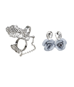 Combo hoa tai hoa hồng & bộ nhẫn lá thời trang