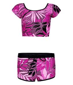 Bộ đồ bơi nữ short phối họa tiết - Hồng