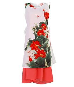 Áo dài cách tân phối váy điệu đà - Cam