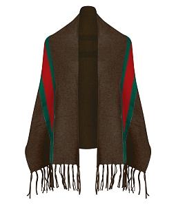Áo khoác khăn choàng len ba màu - Nâu