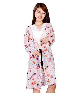 Áo khoác nữ đi biển họa tiết xinh xắn - Hồng