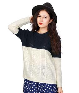 Áo len nữ phối màu - Xanh