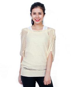 Áo len nữ thắt nơ vai - Kem