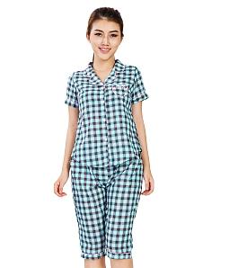 Bộ đồ lửng TWINS pijama caro xinh xắn - Đen