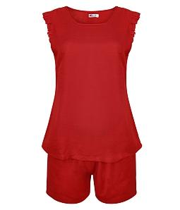 Bộ đồ rayon Quế Lâm cổ tròn tay bèo XQ6006 - Đỏ
