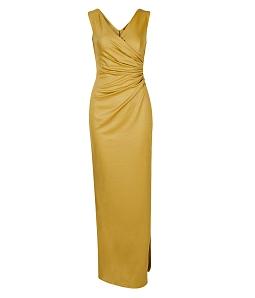 Đầm dài dự tiệc xẻ tà sang chảnh - Vàng