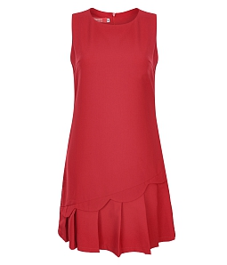 Đầm dạo phố xếp ly gợn sóng thời trang - Đỏ