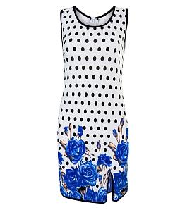 Đầm in hoa xẻ tà Free - Xanh dương
