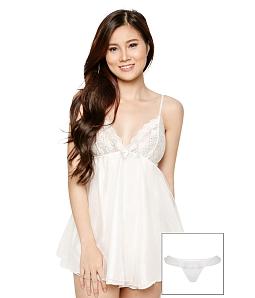 Đầm ngủ Alice + quần lót SEXY FOREVER DN017 - Trắng