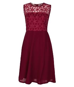Đầm ren xòe phối voan thời trang - Đỏ