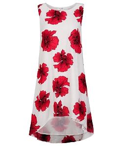 Đầm voan suông phối hoa điệu đà - Đỏ