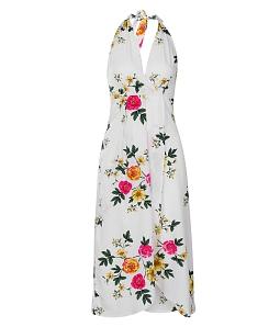 Đầm yếm hoa văn năng động - Trắng