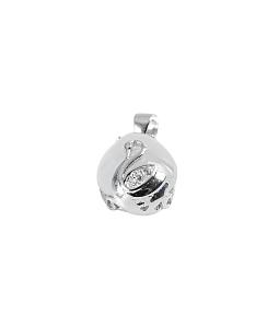 Mặt dây bạc phỉ thúy chạm giọt nước HNJ 5647 - Trắng