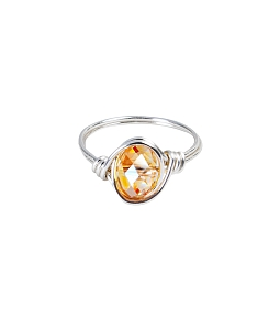 Nhẫn kiểu bẻ kẽm đá tự nhiên đẹp - Vàng