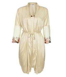 Set đầm ngủ phối tay ren hoa + áo khoác quyến rũ - Vàng
