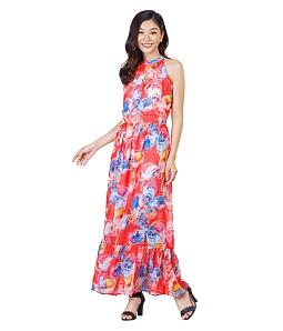 Đầm maxi cổ yếm họa tiết sắc màu - Đỏ