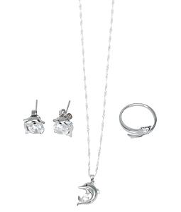 Bộ 3 món dây chuyền + hoa tai + nhẫn bạc 925 cá heo - Trắng