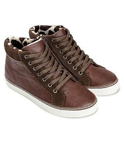 Giày boot nữ da bò cột dây SUTUMI SUW-139 - Nâu