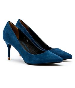Giày cao gót mũi nhọn gót viền vàng G06-IV16 - Xanh