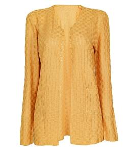 Áo khoác len nữ đan ô thời trang - Vàng