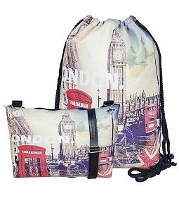 Combo balo rút + túi đeo chéo Paris - London - Đỏ