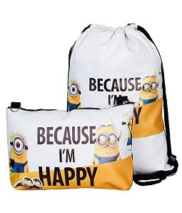 Combo balo rút + túi đeo chéo Pikachu - Minion - Trắng