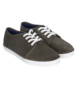 Giày Sneakers Nam QuickFree Courtesy Da Bò Đục Lỗ M160303 - Xám đậm
