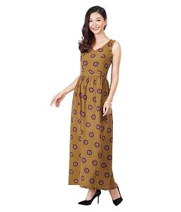 Đầm maxi họa tiết hoa nhí tươi mát - Vàng