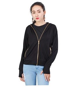 Áo khoác nữ khóa vàng thời trang - Đen