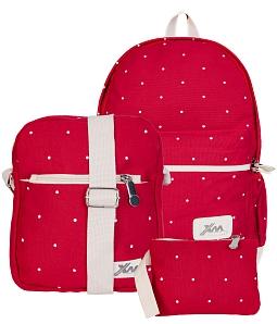 Combo balo + túi Ipad+ ví nữ chấm bi thời trang - Đỏ