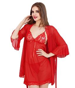 Bộ áo choàng kèm đầm ngủ sexy - Đỏ