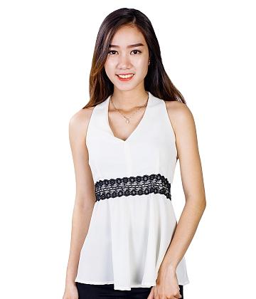 [Thời trang HOT Zanado] Áo kiểu nữ cổ tim phối ren eo cách điệu